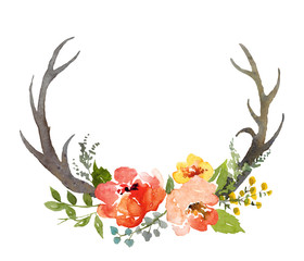 Floral composition with horns