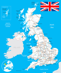 United Kingdom map, flag, roads - - highly detailed vector illustration. Image contains land contours, country and land names, city names, water object names, flag, roads, railways.