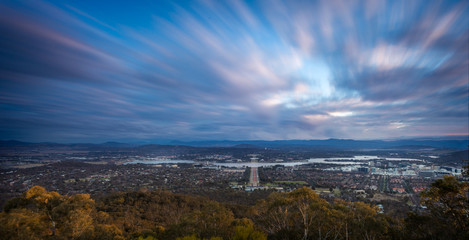 A high view of the capital of Australia,