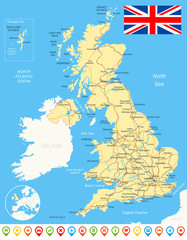 Map of Great Britain and flag - highly detailed vector illustration.