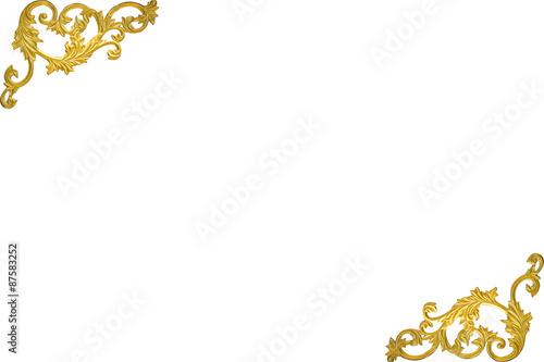 Old Antique Gold Frame Stucco Walls Greek Culture Roman Vintage Style Pattern Line Design For Border
