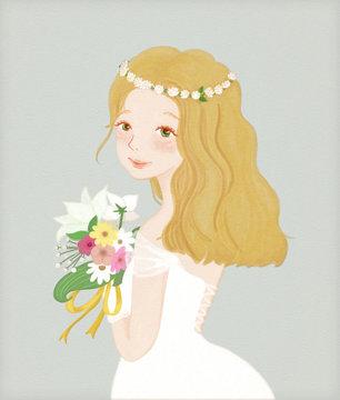 花嫁とお花のイラスト Bride and Flowers