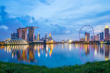 Foto op Plexiglas Singapore Marina Bay in Singapore at twilight