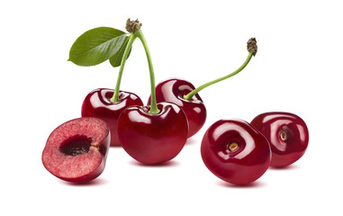 Sweet cherry horizontal composition 2 isolated on white backgrou