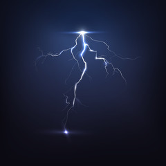 Lightning on black, vector