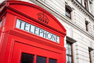 London phone box. Detail of an iconic red British telephone box.