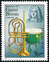 stamp printed by Guinea, shows musician and composer George Frideric Handel