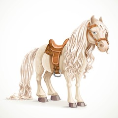 Cute saddled little pony horse isolated on a white background