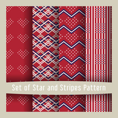 Set of star and striped patterns American Flag style