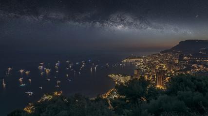 Fototapete - Monaco under the milky way