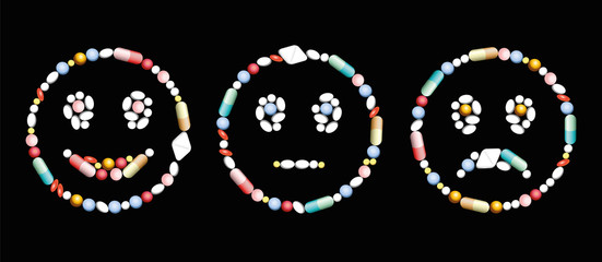 Pills, capsules and tablets, that form a smiling, a neutral and a frowning face, as a positive, neutral and negative symbol concerning medical and pharmaceutical issues. Vector on black background.