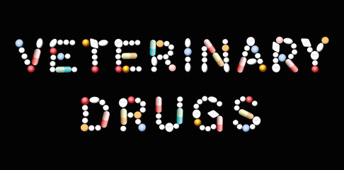 VETERINARY DRUGS written with pills, tablets and capsules. Vector illustration on black background.