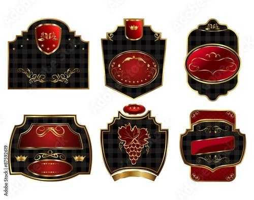 99bddde2b86 set black gold-framed labels