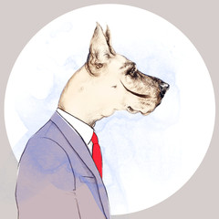 fashion animal .watercolor illustration.Business Dog