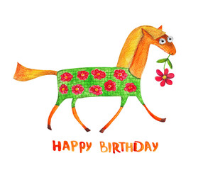 Horse with flower. Happy birthday. Watercolor
