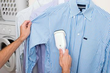 Steaming a shirt