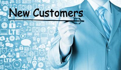 businessman writing new customers