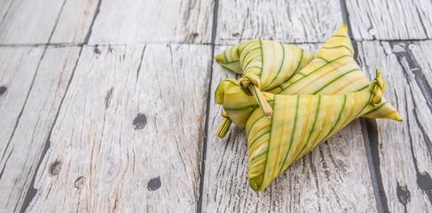 Uncook Malay dish ketupat daun palas or rice dumpling