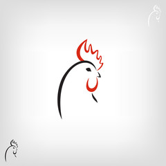 The black stylized cocks on a white background