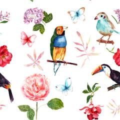 Fotorolgordijn Papegaai Vintage collage seamless pattern with roses, butterflies and birds