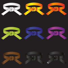 karate do martial arts color belts icons set eps10