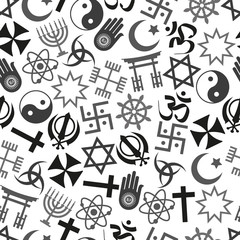 world religions symbols vector icons gray seamless pattern  eps10