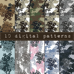 Set of Camouflage seamless pattern.Can be used for background design, military textile.