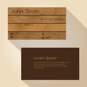 brown wood simple business card design eps10