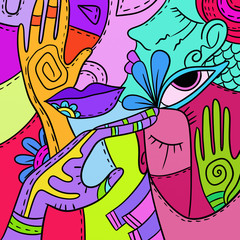 colored abstract with faces and hands