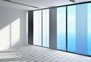 Empty White Architectural Room with Glass Windows