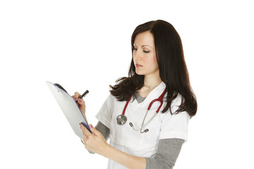 Nurse or doctor taking notes.