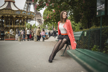 Fashion girl travelling in paris france