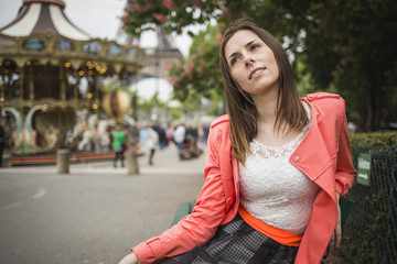 Young student girl dating in paris france