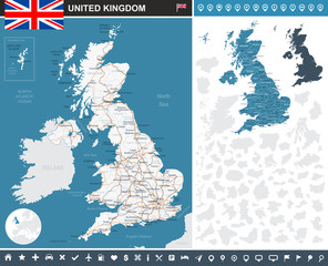 United Kingdom infographic map. Highly detailed vector illustration. Image contains land contours, country and land names, city names, water objects, flag, navigation icons, roads, railways.