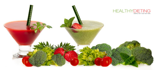 Healthy Dieting Concept. Smoothies with Fresh Fruit and Vegatabl