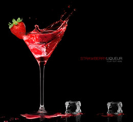 Stylish Cocktail Glass with Strawberry Liquor Splashing. Party Concept