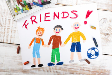 drawing of friends playing football