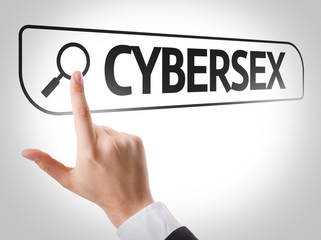 Cybersex written in search bar on virtual screen