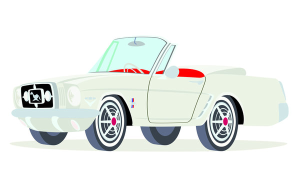 Caricatura Ford  Mustang convertible blanco vista frontal y lateral