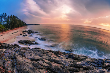 Panoramic view on sunset sea