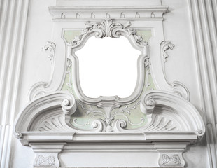 the ornament of a fireplace hood in a neo classical villa suitab