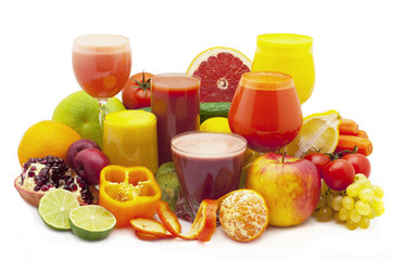 Juice fruit and vegetables on a white background