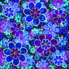 Blue and Purple Floral Pattern
