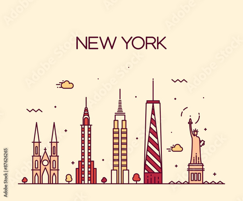 Line Drawing New York City Skyline : Quot new york city skyline silhouette line art style fichier