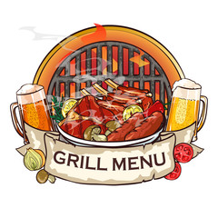 BBQ Grill label design