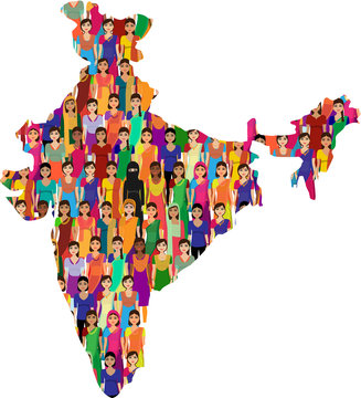 Big crowd of Indian women vector avatars in shape of Indian Map illustration - Indian woman representing different states/religions of India.