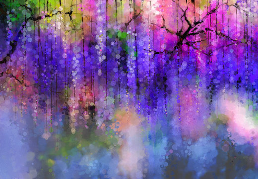 Abstract Violet color flowers. Watercolor painting. Spring purple flowers Wisteria in blossom with bokeh background