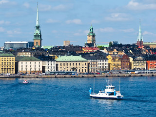 View of the Old City and passenger ship in the bay. Stockholm, Sweden