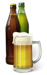 Mug with beer. Green bottle of beer. Brown bottle of beer. Vector