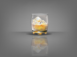 realistic beautiful whiskey glass with ice cubes and whiskey vector